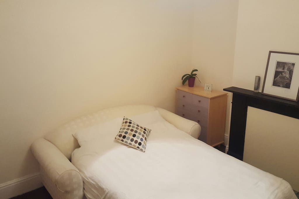 The room has a very comfortable  double sofa bed with fully sprung mattress and mattress topper.