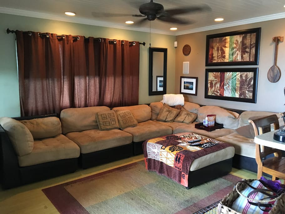 "Living Room - Hawaiiana style with 52"" TV/cable, Apple TV, etc."
