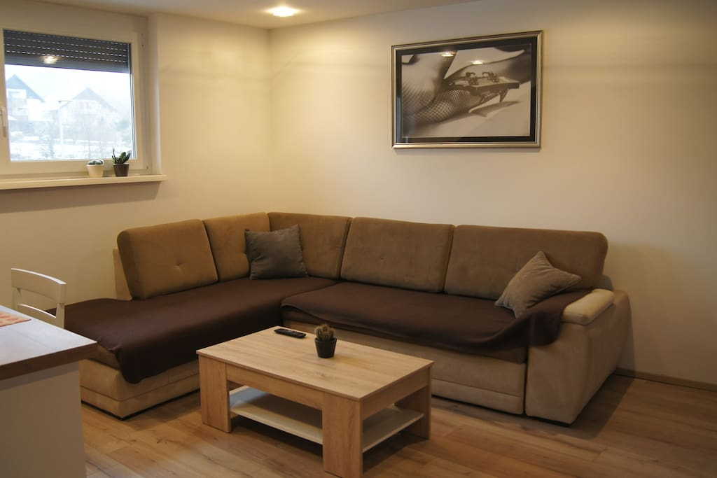 Comfortable living room with big screen and kitchen, all in one place