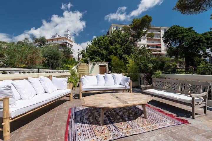 Villa roof top, spa, centre-ville, accès plage