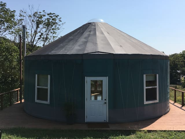 A front view of the yurt. It's like a tent on steroids.