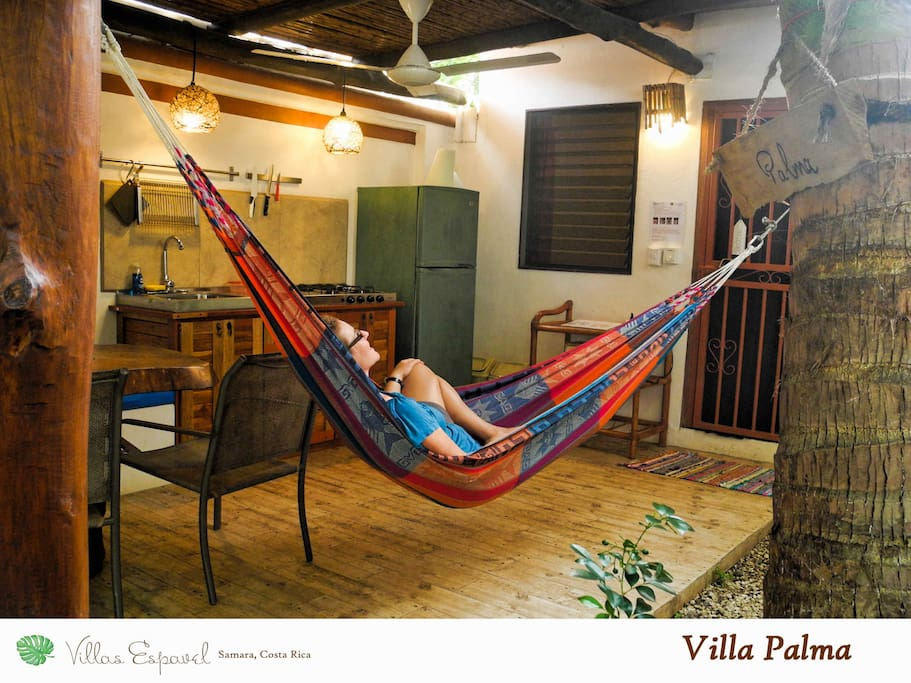 You'll live under the ceiling fan on the private patio of Villa Palma with a Guanacaste table and a private hammock it's got all you need to relax after a day on the beach.