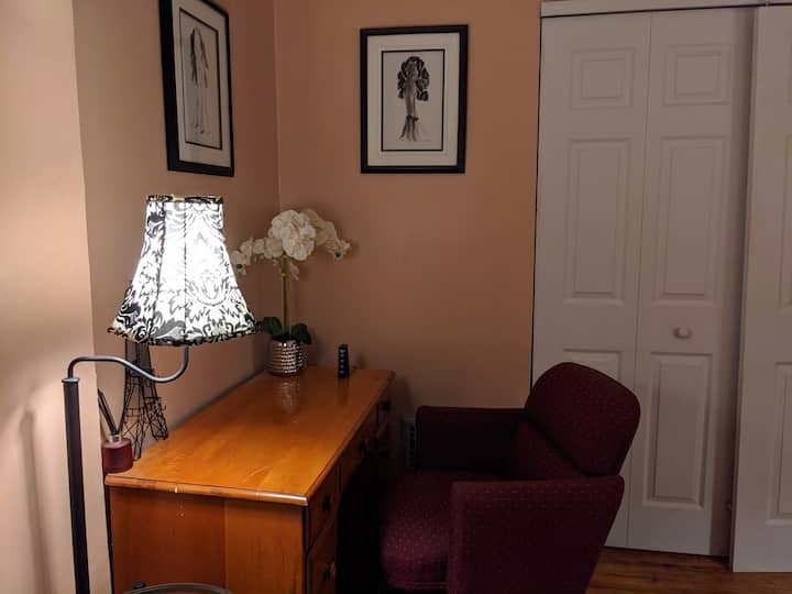Quiet bd in a Victorian home next to downtown -red
