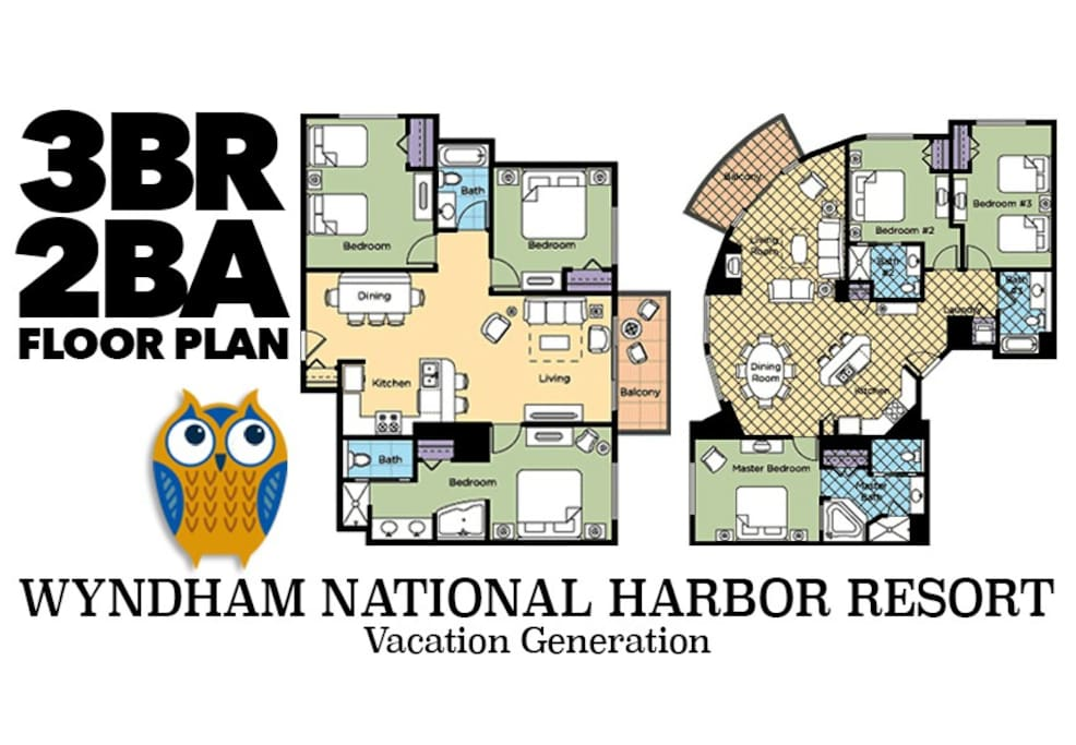 2 variations of floor plans for 3 bedroom condos at Wyndham National Harbor.