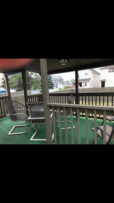 Nice covered porch with table for 4-6 and use of firepit/grill if so desired