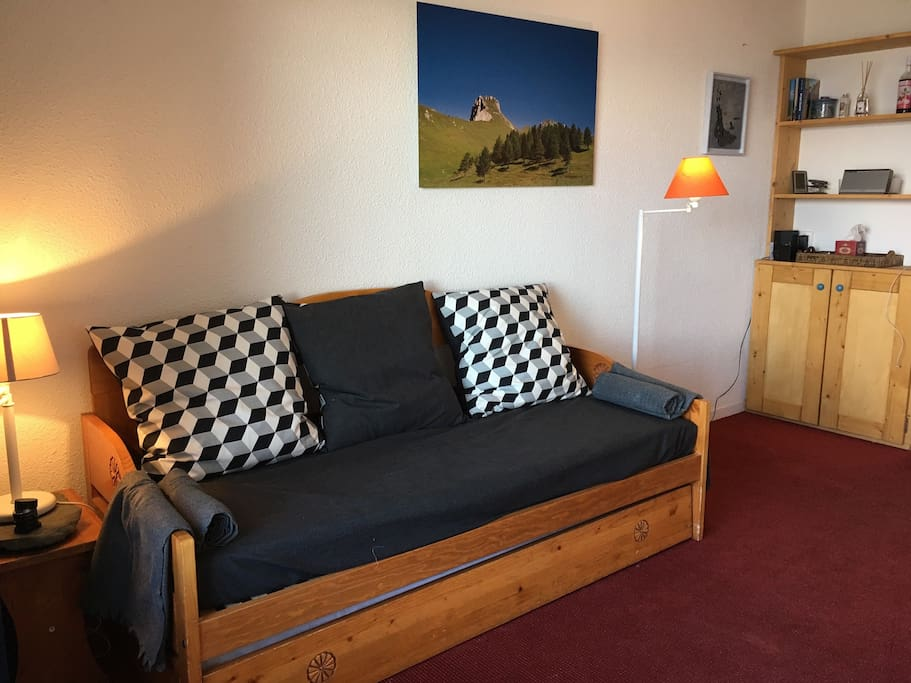 Sofa with two single beds included