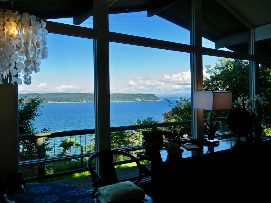 Waterfront Views of the Saratoga Passage, Camano Island and the Cascade Mountains.