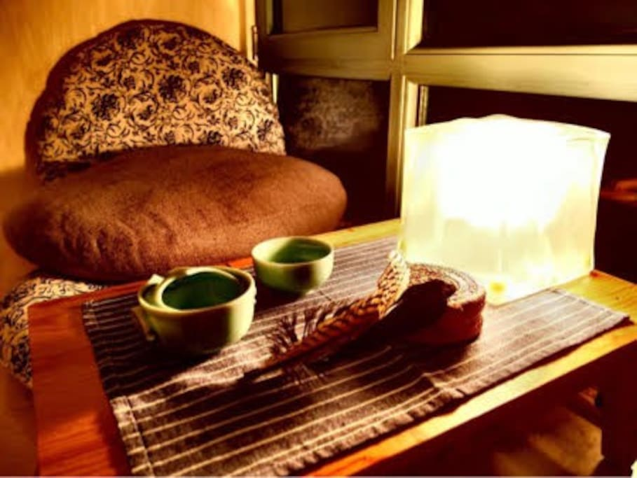 Reading nook with tea table