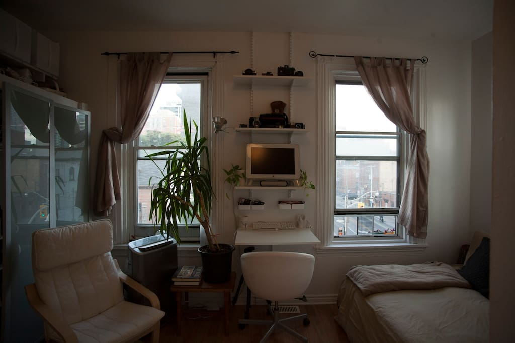 Living Space with large bright windows