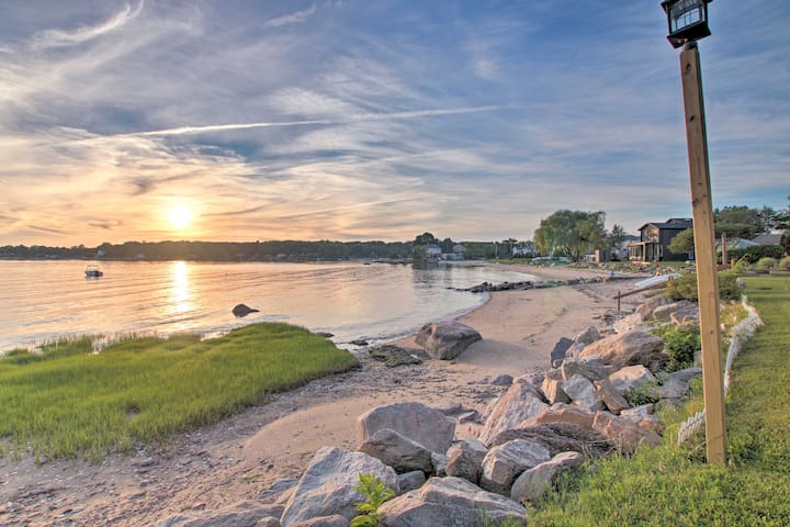 The property is nestled along Joshua Cove just steps from the sandy beach.