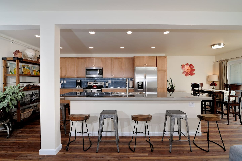 Spacious modern kitchen with massive island