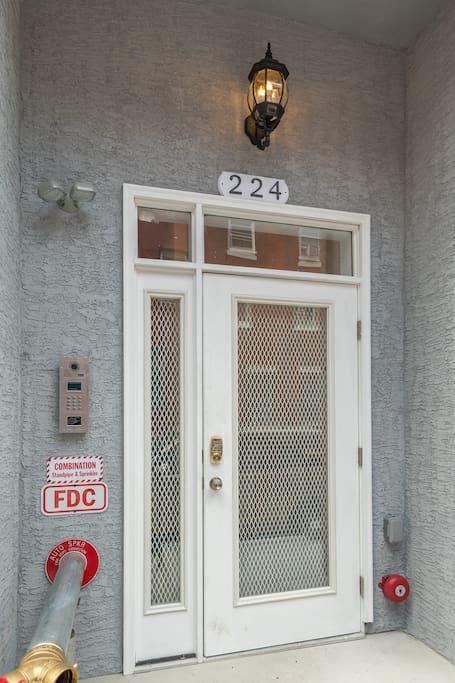 Secured building front door