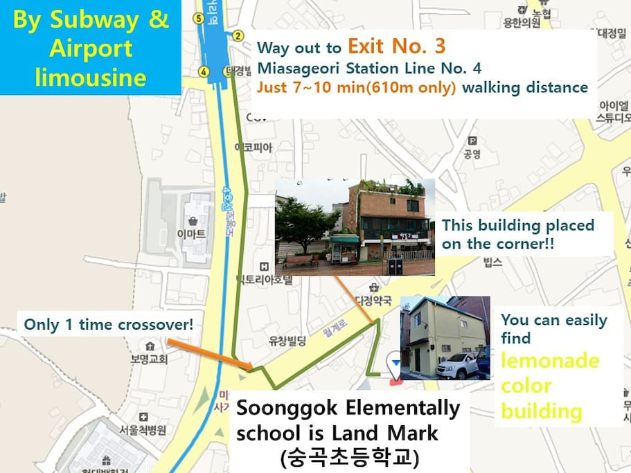 Easy to approach Subway & Airport bus