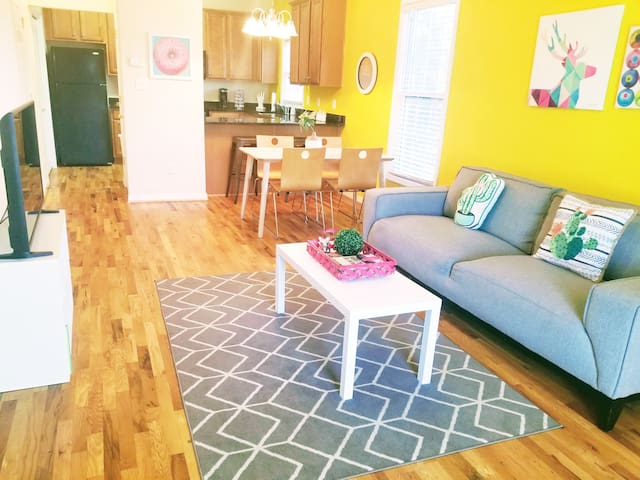 My home features a vibrant modern design, rustic oak hardwood floors and spacious open floor plan.