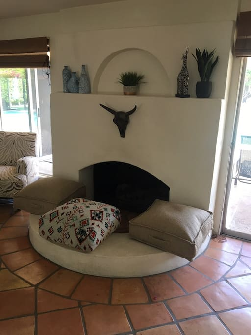 Floor Pillows around the Fireplace