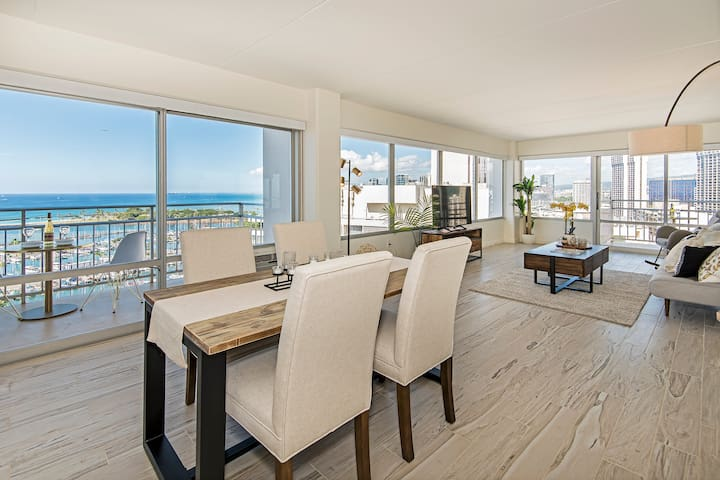 **Professionally Sanitized**Ocean View 2BD Ilikai Condo w/ Lots of Amenities! - Ilikai Hotel Ocean 2 BDR on the 19th Floor