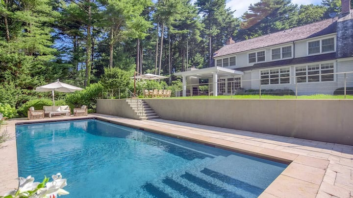 New Listing: Ideal for Entertaining, Covered Outside Dining Area with Fireplace and Grill, Finished Basement with Rec Room and Movie Theater, Close to East Hampton and Sag Harbor Villages