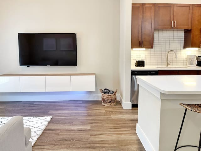 """65"""" TV equipped with FREE Netflix and Hulu, West Elm furniture, full size kitchen."""
