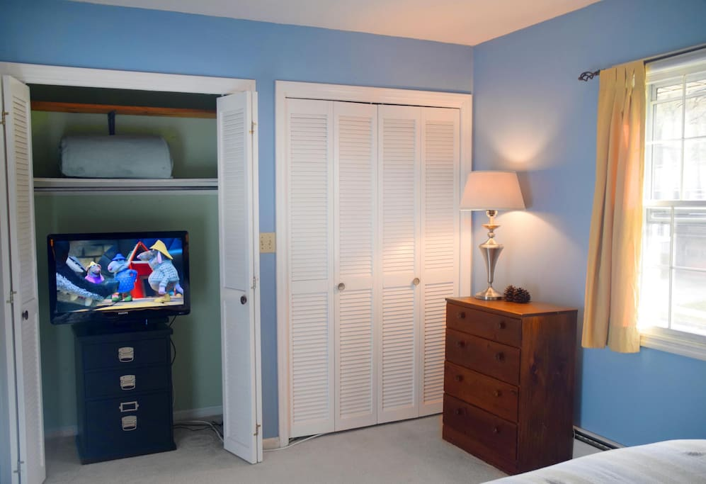 TV with Premium Cable package, and Netflix, in closet.
