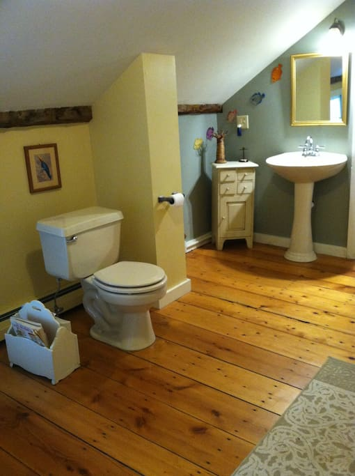 Upstairs shared bathroom. Combined shower and bathtub