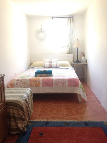 2nd bedroom with double bed. Has a powerful fan, no air conditioning