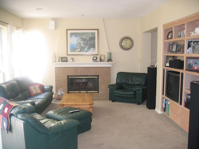 family room with tv, stereo, dvd player, cable