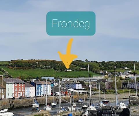 Frondeg, spectacular views of Aberaeron & Coast