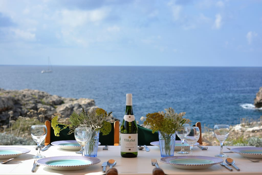 Dining at Villa Feliz - just 50m from the sea