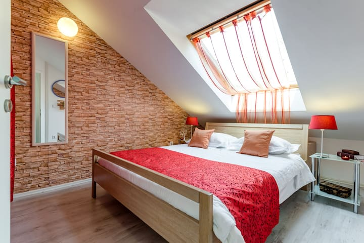 one of main bedroom, bed 160x200, hard new matrace, roof vindow, starly sky, fresh air during a night, large storage space and mirrow for your summer trends!