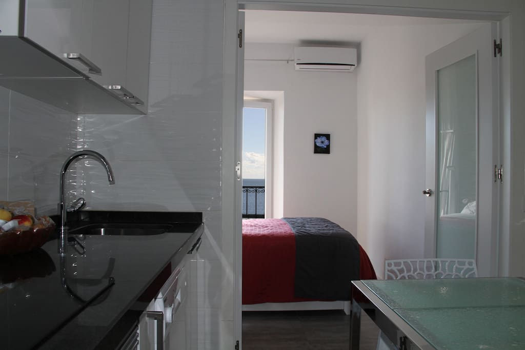 Sea view bedroom and kitchen