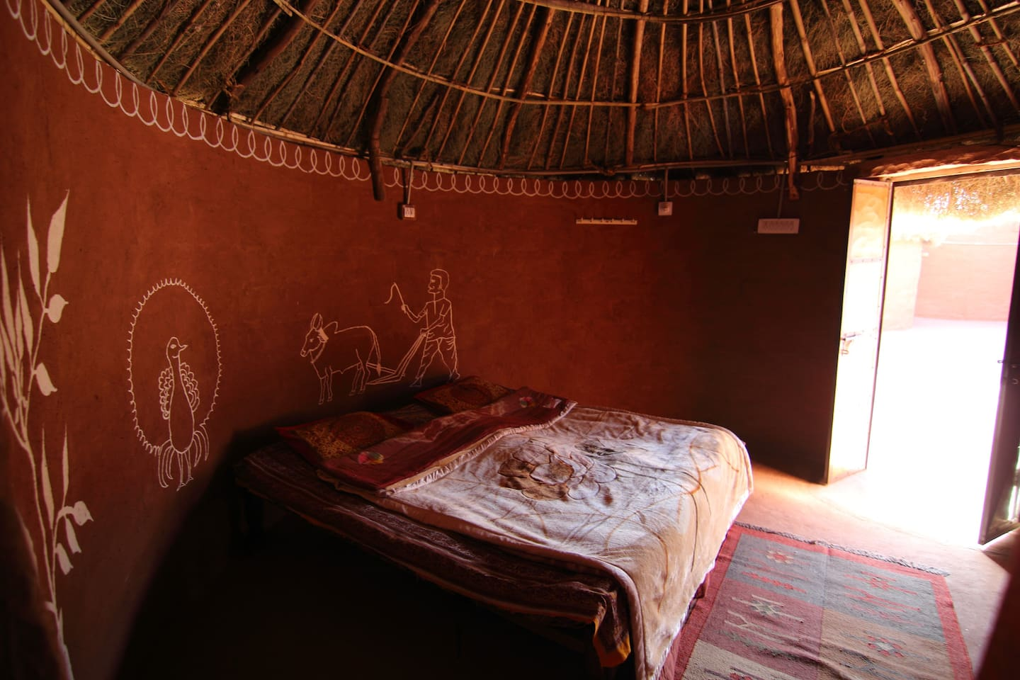 Sleep in Rajasthani Hut attached WC.