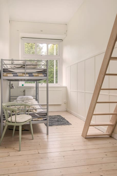 Room with loft: bunk bed and two single beds