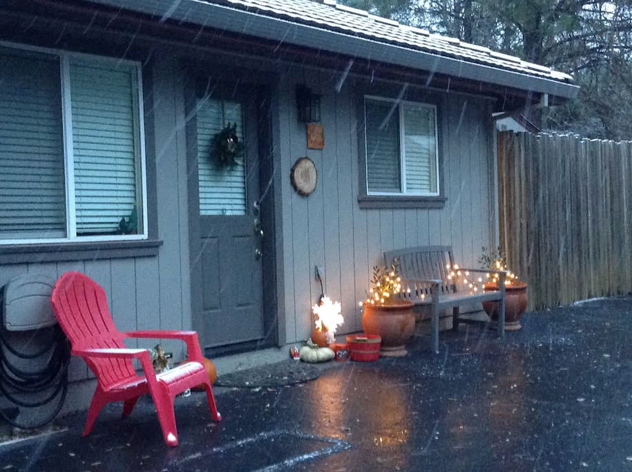 Snowing, entrance to private cottage