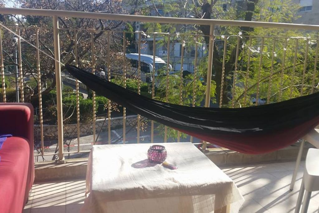 Our balcony with the comfiest hammock ever