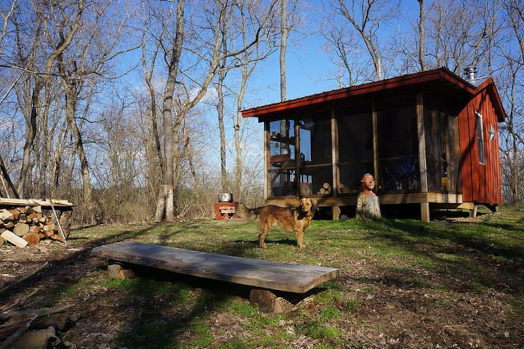 Rustic living on a crisp Spring day. A nice, screened in porch to enjoy bug-free evenings and mornings. Yasmine, a recent guest, generously supplied this photo as well as many of the others on this page. Thanks Yasmine!