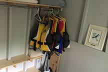 Life jackets and closet area