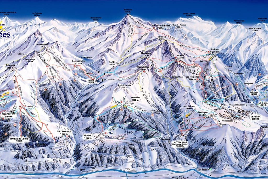 Piste map for 4 Valleys - we are located right at the Siviez lifts