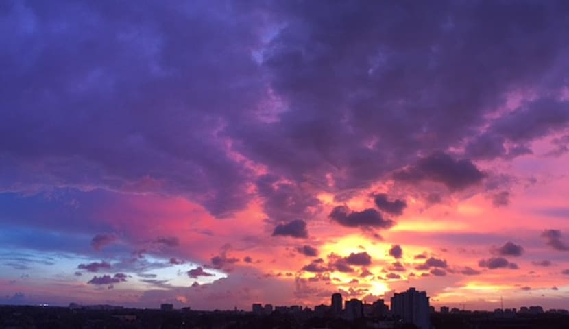 Panoramic sunsets from the balcony