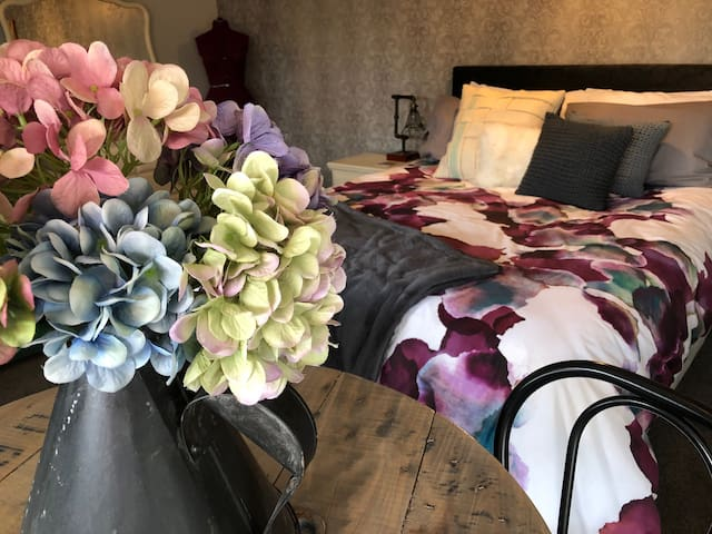 Luxurious linens in and on the bed