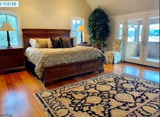 Master bedroom with private deck