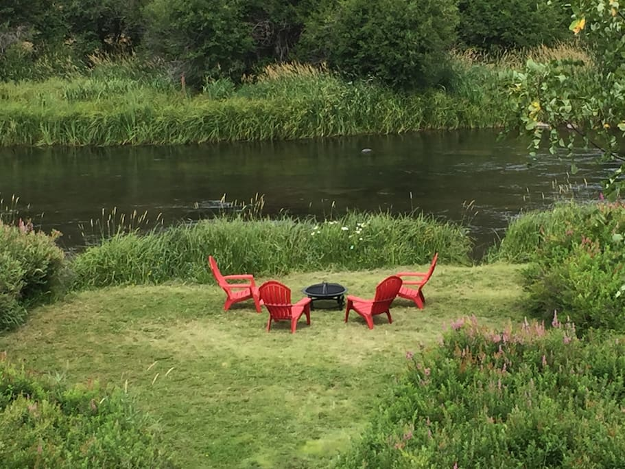 Relax by the river, walk out to fly fish or have a bonfire