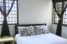 Nest yourself in this extra comfy bed. A thick comforter & total 4 pillows are provided to maximize your home away home feel.