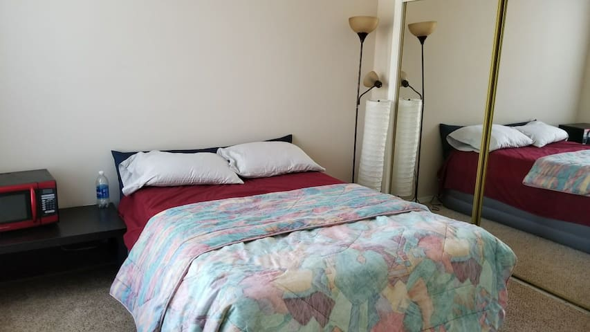 Guest bedroom and private bath in Cary NC with cat