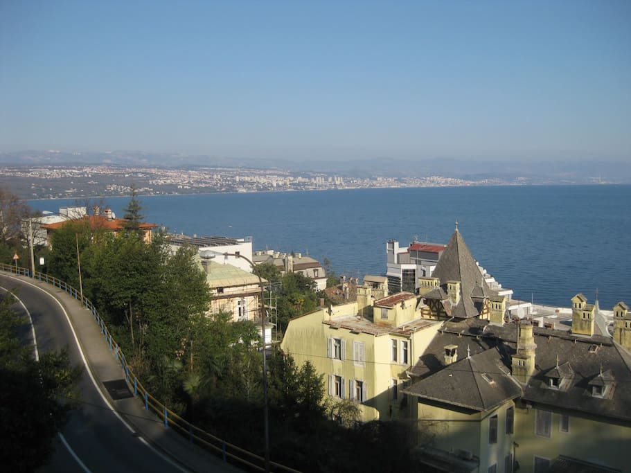Beautiful view from the balcony on Opatija, Rijeka and Kvarner bay