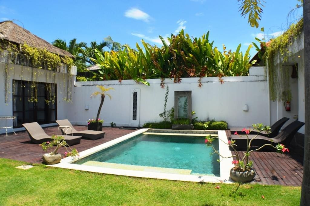 Two bedrooms, two bathrooms with private pool and garden
