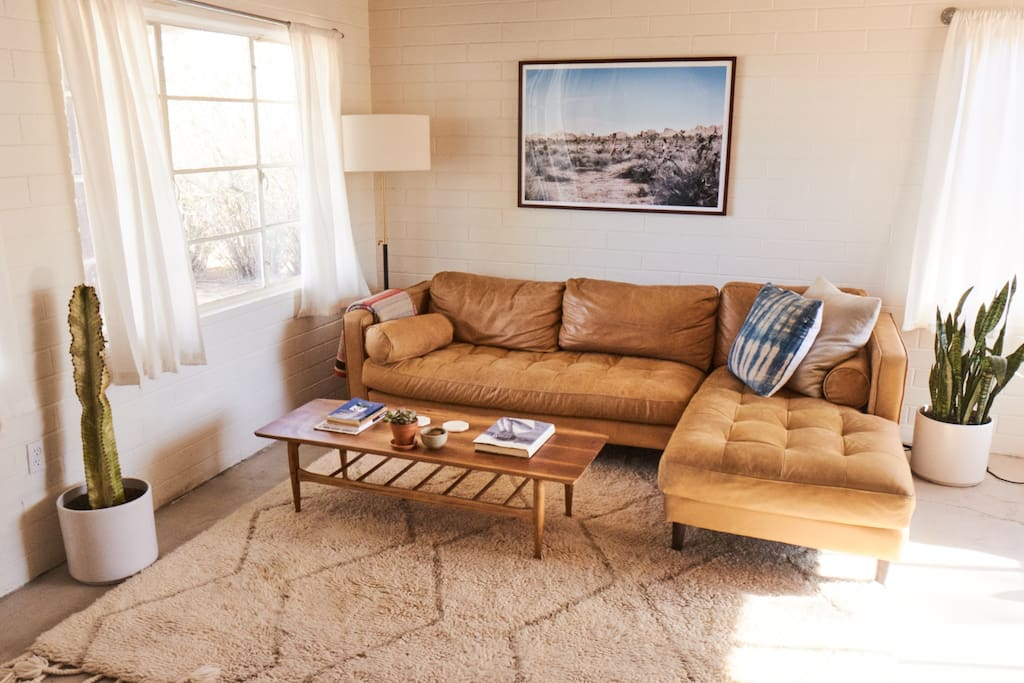 Enjoy a relaxing lounge in the living room anytime in the day. Always lit by the beautiful desert sun! It is a beautiful spot to watch the sunset indoors!
