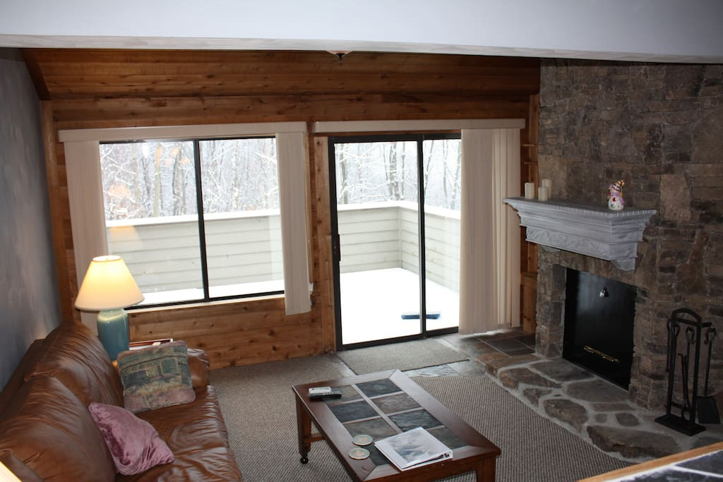 Living room looks out onto the Village Trail Slope. Ski-in and ski-out from the private rear deck.