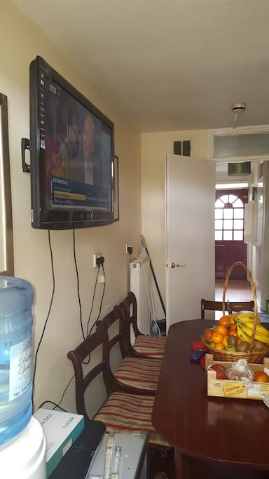 kitchen and dining and TV to watch movies and football
