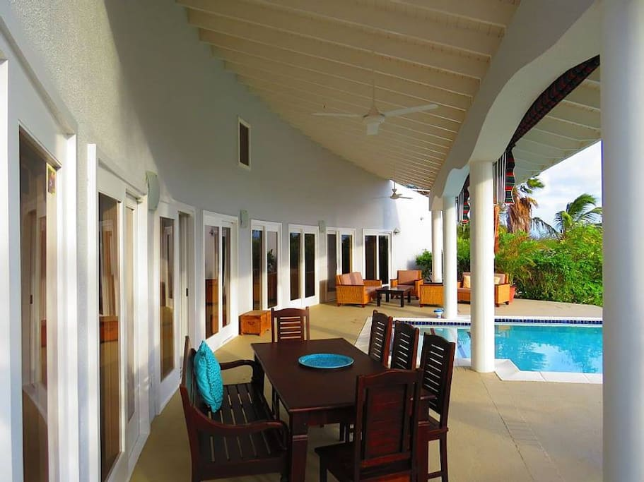 Enjoy sun and shade on the large back patio