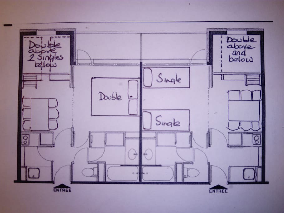 Floor plan of 2 adjacent apartments showing some of the many possible bed arrangements.